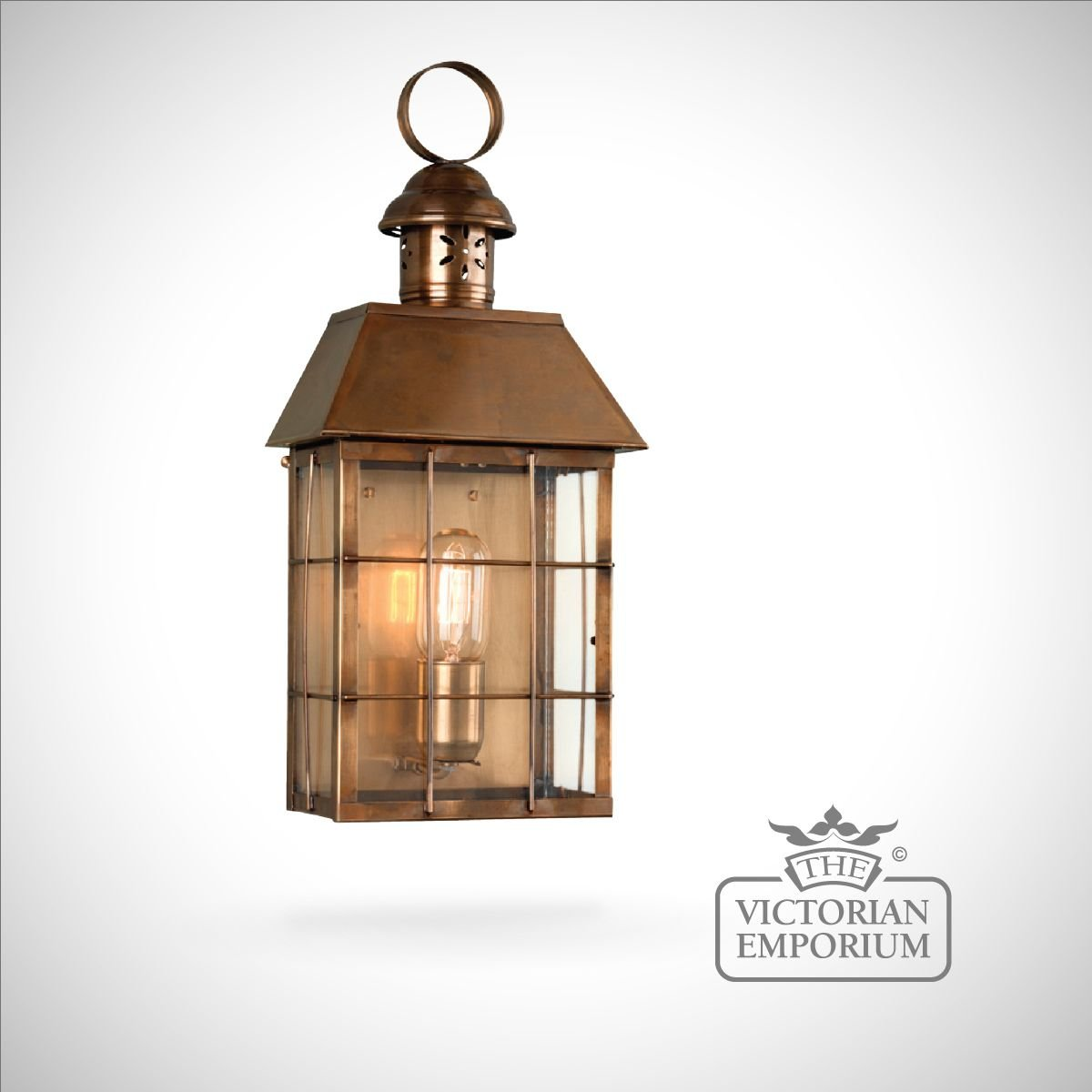 External Lantern Wall Lights : Hyde Park brass wall lantern - antique brass Outdoor Wall Lights