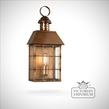 Hyde Park brass wall lantern - antique brass