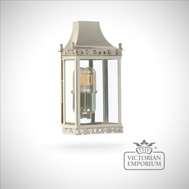 Regents brass wall lantern - polished nickel