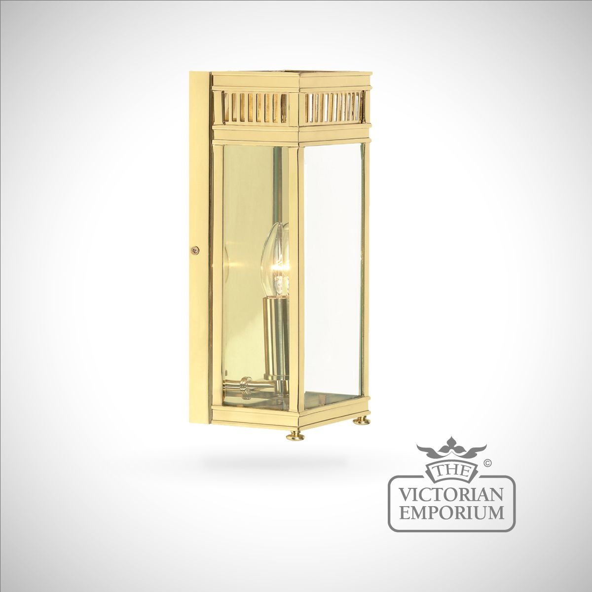 Holborn wall lantern in polished brass - small | Outdoor Wall Lights