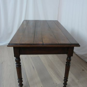 Vintage French Pine Farmhouse Table with Turned Legs
