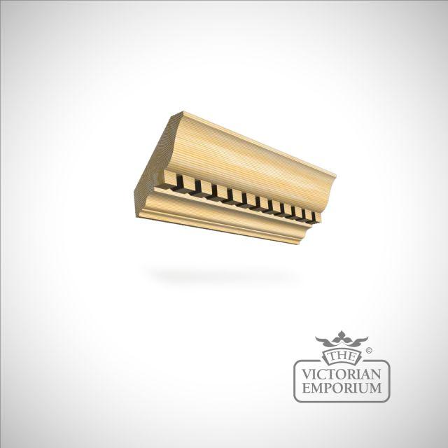 Wooden dentil coving 195 x 44mm