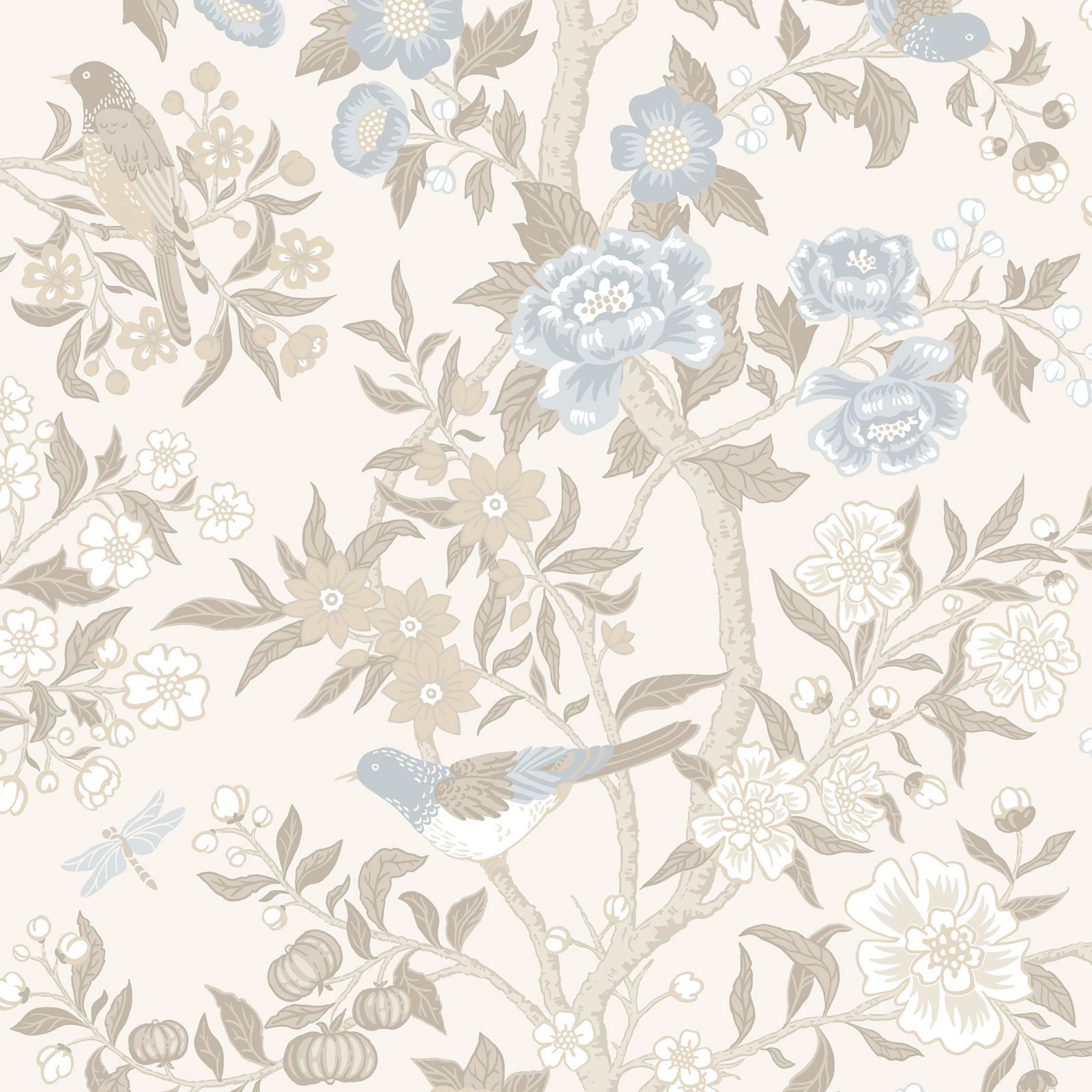 Wallpaper With Bird And Flower Design Flowered And Botanical Papers