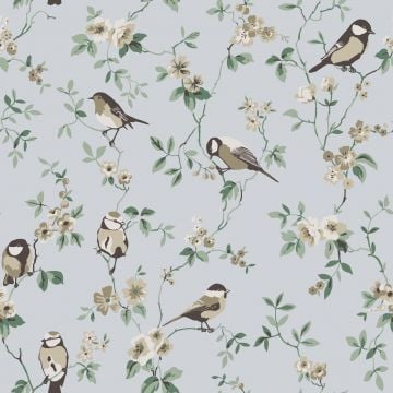 Bird varieties and small flowers wallpaper