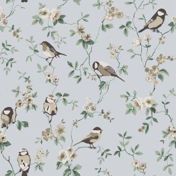 Bird varieties and small flowers wallpaper