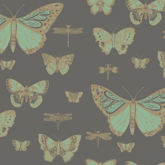 Butterflies and Dragonflies wallpaper in choice of three colours