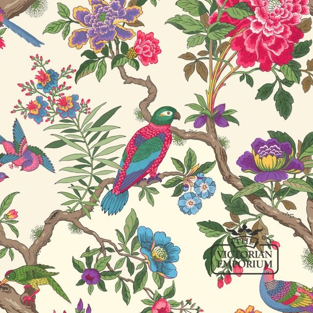Fointainbleu wallpaper with colourful birds and flowers in choice of two colourways