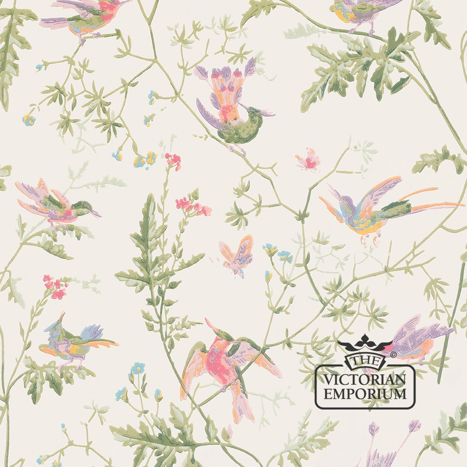 Hummingbirds wallpaper in choice of five colourways fish birds insects an - Papier peint oiseaux ...