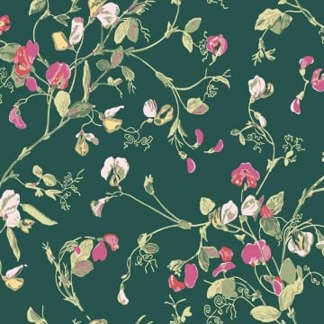 Sweet pea wallpaper in choice of 7 colours