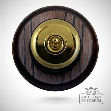 1 gang period light switch - round, plain in antique or polished brass