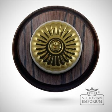 1 gang period light switch - round, fluted in antique or polished brass