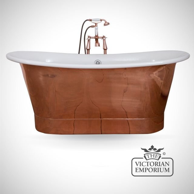 Normandie Copper Bath with White Enamel interior
