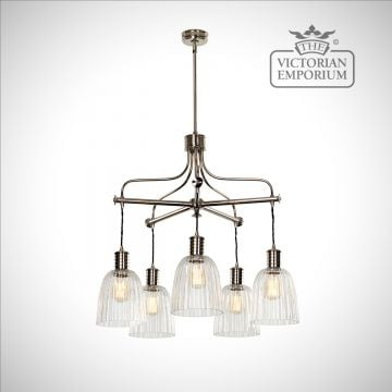 Douillet 5 arm chandelier in Polished Nickel.