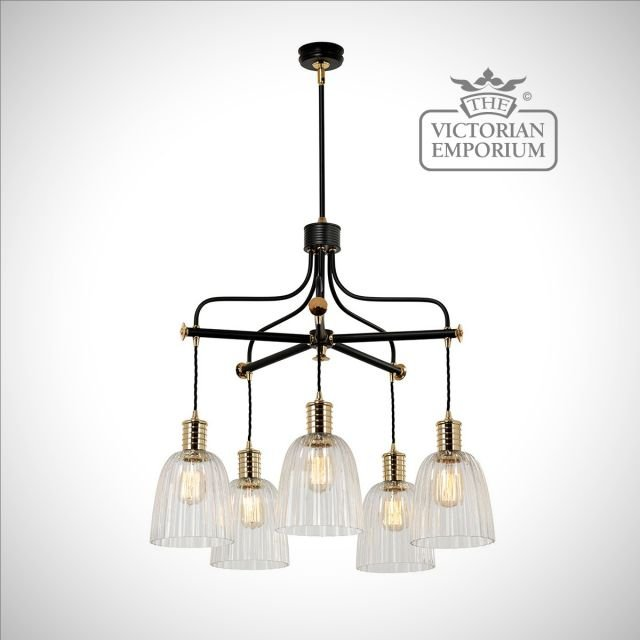 Douillet 5 arm chandelier in Black and Polished Brass