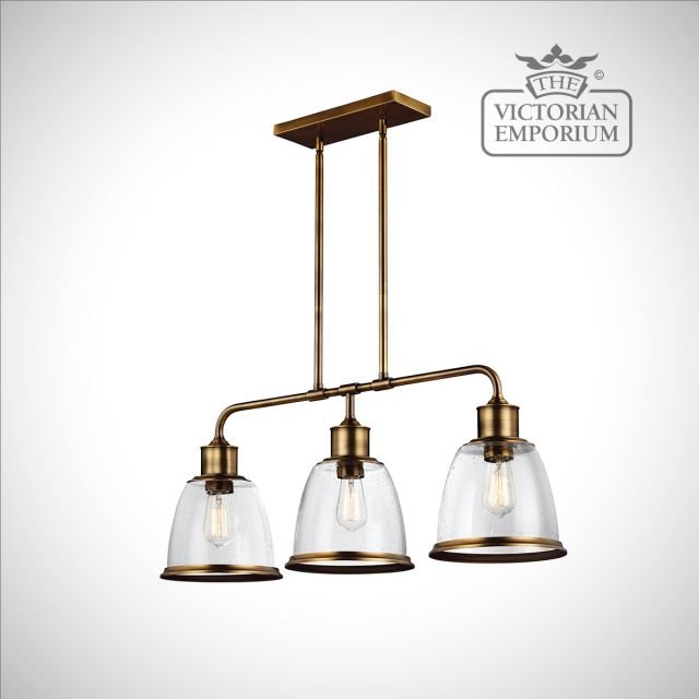Hobsons three light island ceiling pendant in Aged Brass