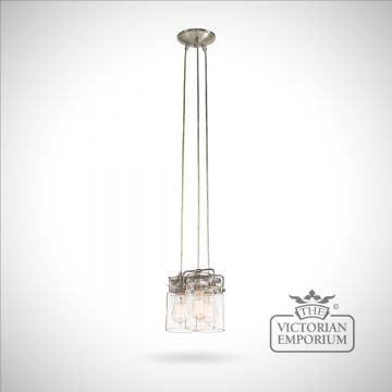 Brinkley 3 light pendant in brushed nickel