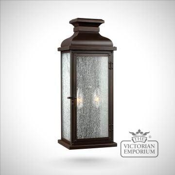 Pediment medium wall lantern in Aged copper