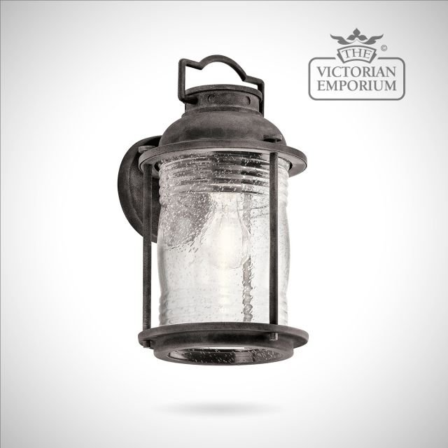 Ashland medium wall lantern in weathered zinc