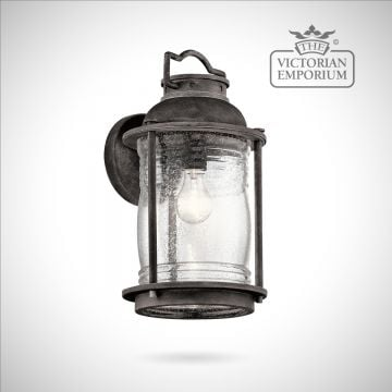 Ashland large wall lantern in weathered zinc
