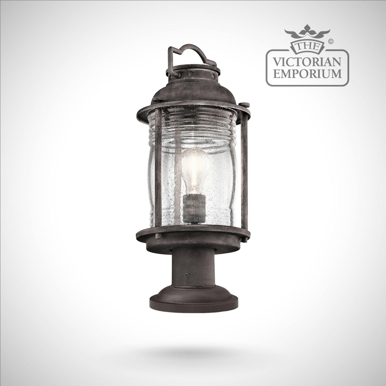 Ashland Pedestal Lantern In Weathered Zinc