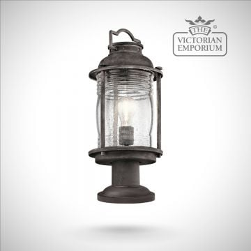 Ashland pedestal lantern in weathered zinc