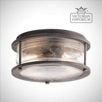 Ashland flush mount lantern in weathered zinc
