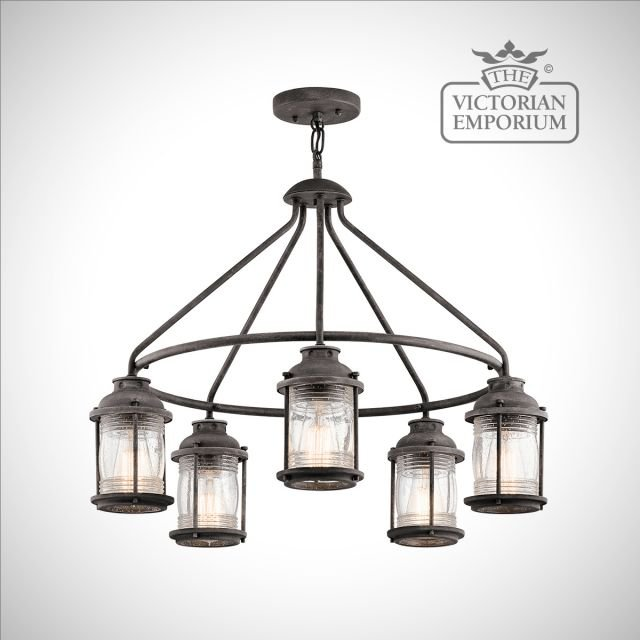 Ashland outdoor chandelier in weathered zinc