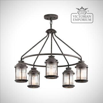Ashland outdoor chandelier in weathered zinc