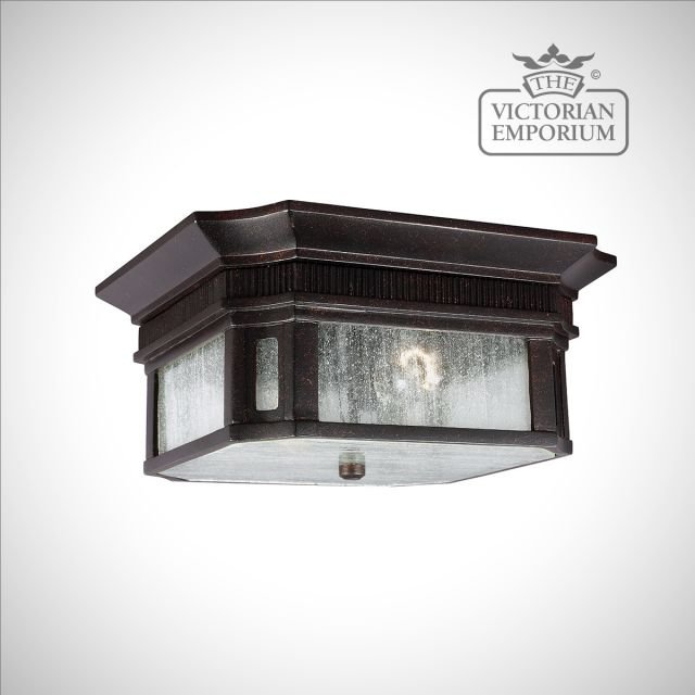 Federal flush mount lantern in gilded bronze