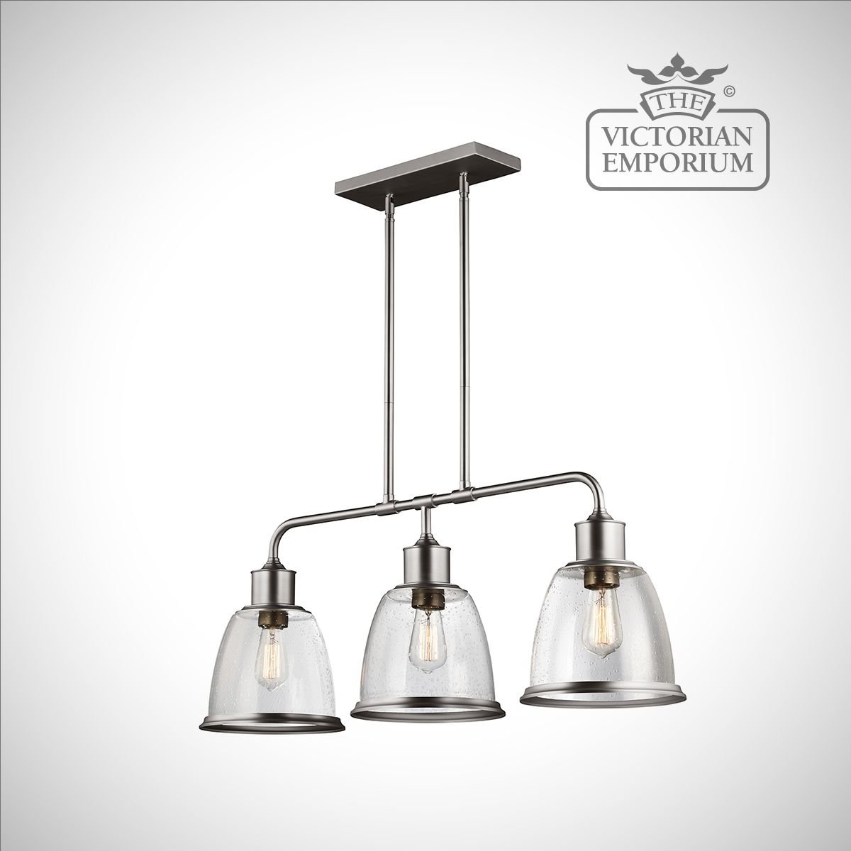 Hobsons Three Light Island Ceiling Pendant In Satin Nickel - Three light island pendant