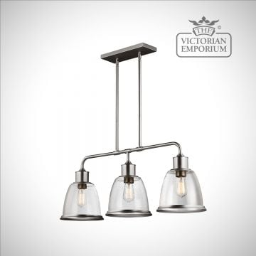 Hobsons three light island ceiling pendant in Satin Nickel