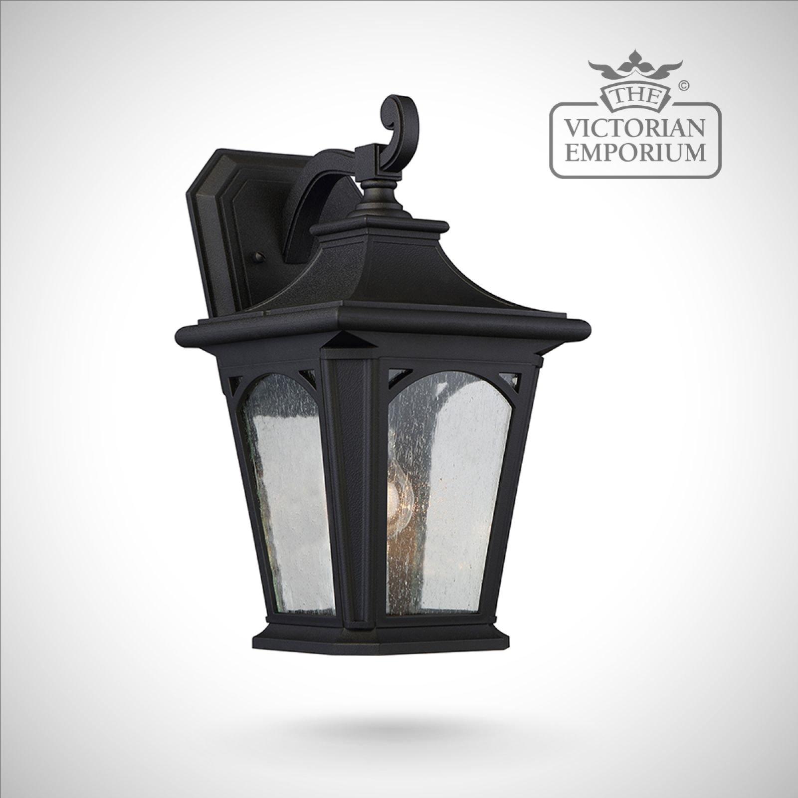 Bedfords Medium Pedestal Lantern In Black: Bedfords Medium Wall Lantern In Black