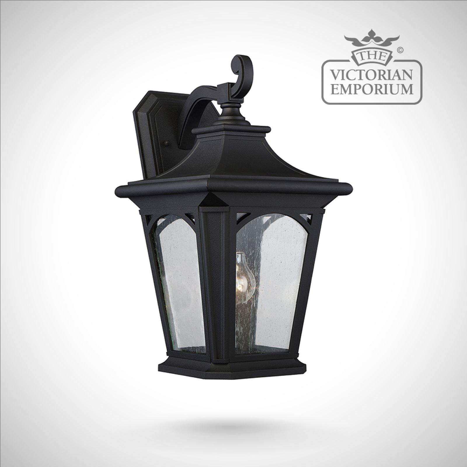 Bedfords Medium Pedestal Lantern In Black: Bedfords Large Wall Lantern In Black