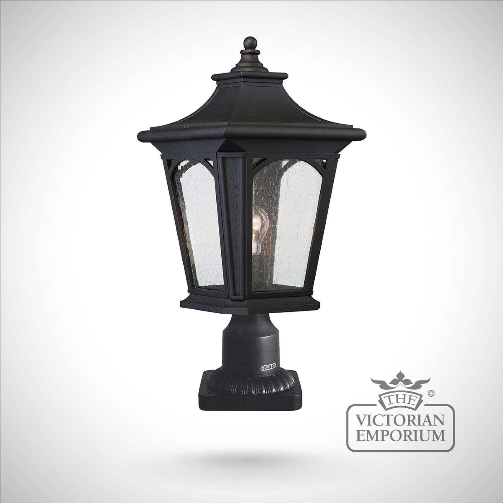 Cheltenham Cast Pedestal Lantern Light Black: Bedfords Medium Pedestal Lantern In Black