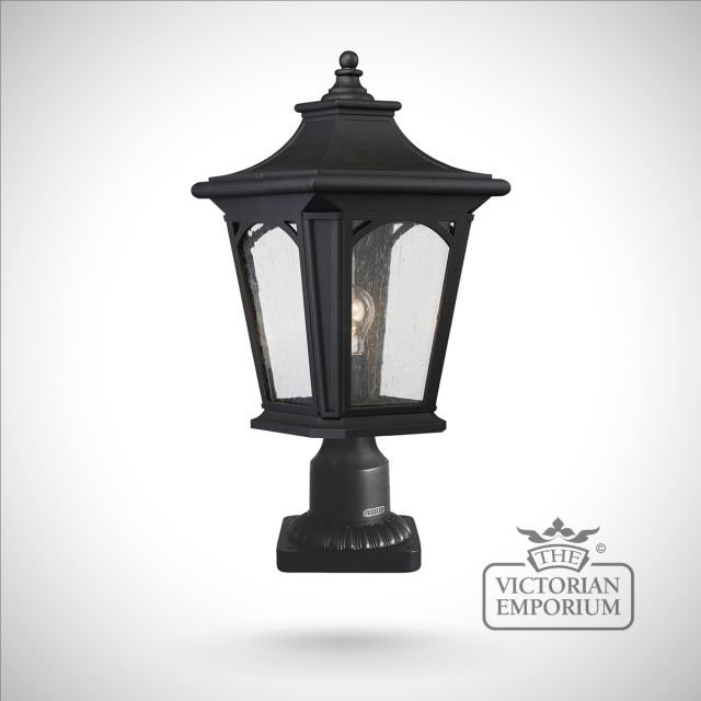 Bedfords medium pedestal lantern in Black