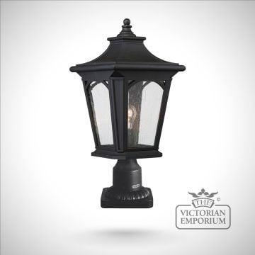 Bedfords medium pedestal lantern in Black