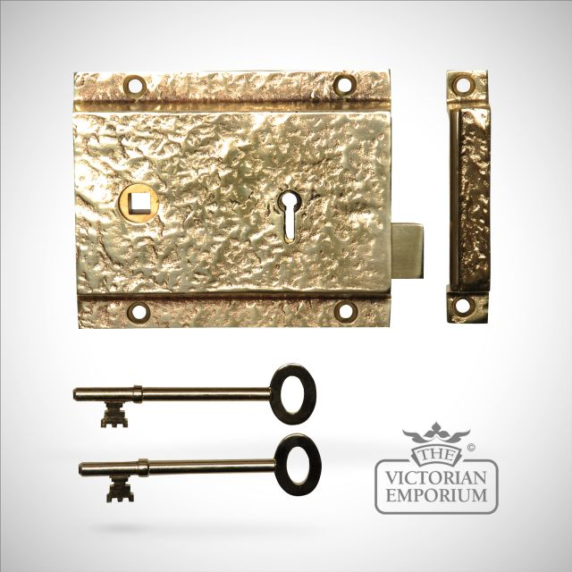 Rim lock/latch in cast brass