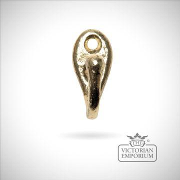 Single hook in cast brass on oval plate