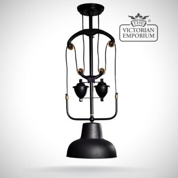 Black and brass steampunk style ceiling lamp with pulley
