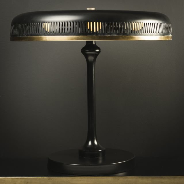Black and brass desk lamp