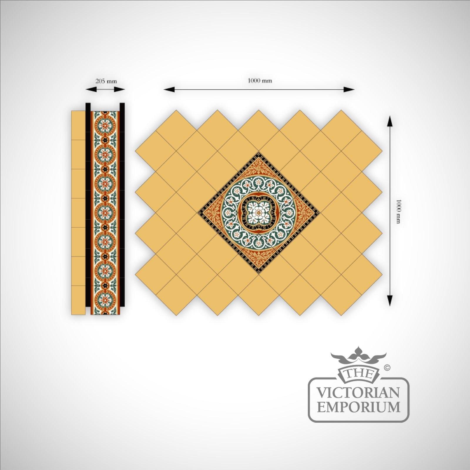 Jacks Field Mosaic Floor tiles Inset (centre) | Victorian Mosaic ...