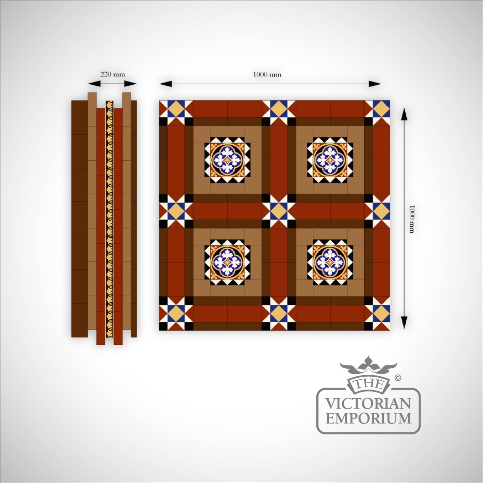 Knowl Mosaic Floor Tiles Inset Centre The Victorian