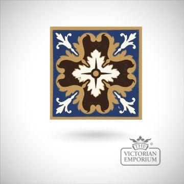 """Encaustic 6"""" square tile - design 3"""