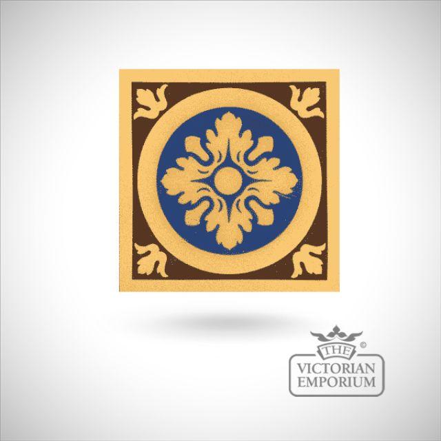 """Encaustic 6"""" square tile - design 4"""
