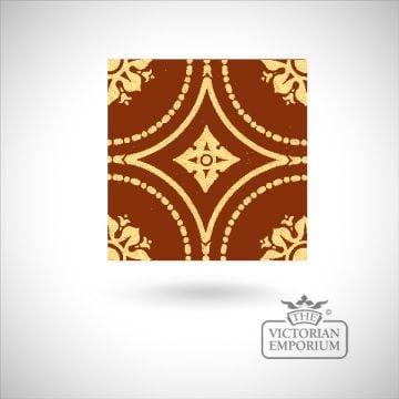 """Encaustic 6"""" square tile - design 7"""