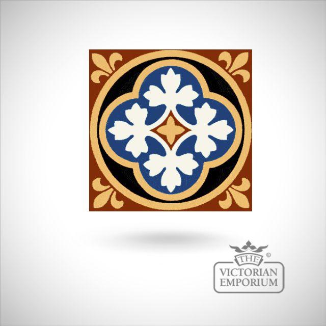 """Encaustic 6"""" square tile - design 10"""