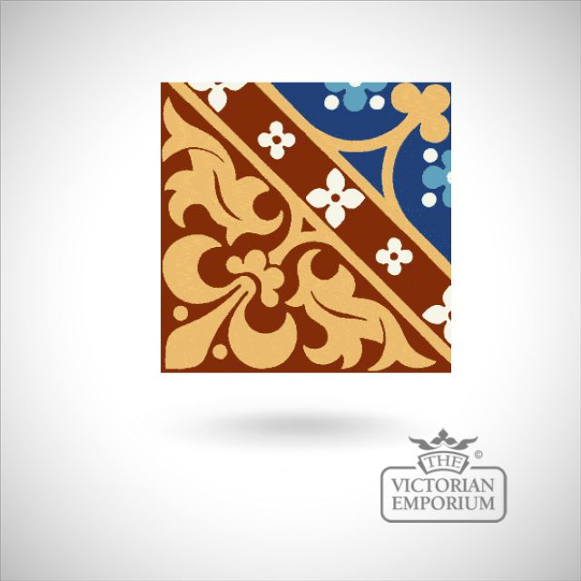 "Encaustic 6"" square tile - design 39"