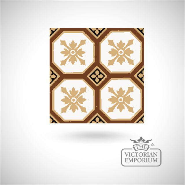 """Encaustic 6"""" square tile - design 21"""