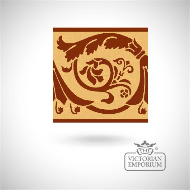 """Encaustic 6"""" square tile - design 42"""
