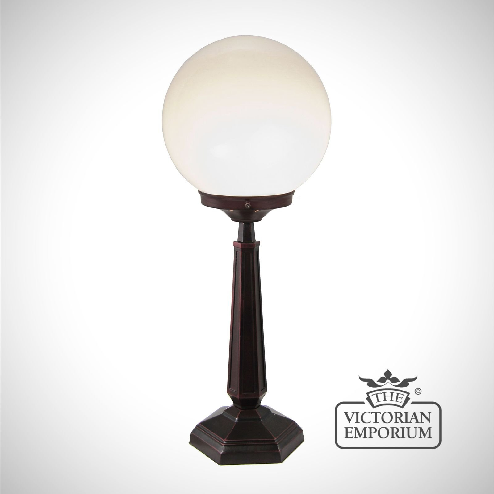 Globe Lamp With White Opal Shade